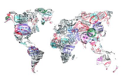 carte du monde représentant toutes les destinations pour la demande de visa en ligne via FastVisaBe